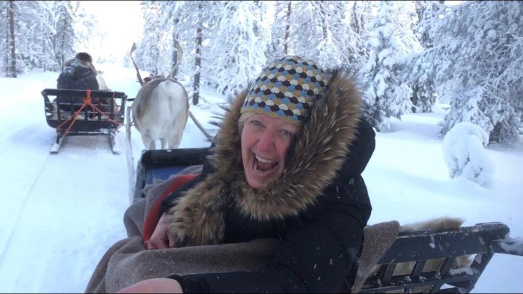 Reindeer sleigh through a winter wonderland in Lapland