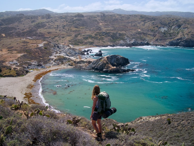 Overlooking the turquoise water of Little Harbor on the west side of Catalina Island - April.